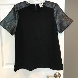 J. Crew black and silver top